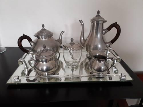 Service café et thé metal argenté et plateau