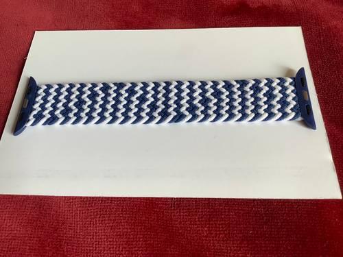 Bracelet tressé bleu/blanc, taille XS, pour Apple Watch de 38ou 40mm