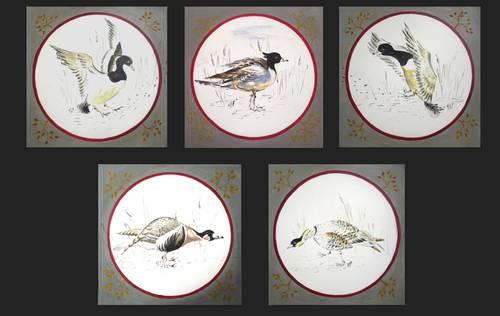 5petites peintures sur bois « canards en médaillon»