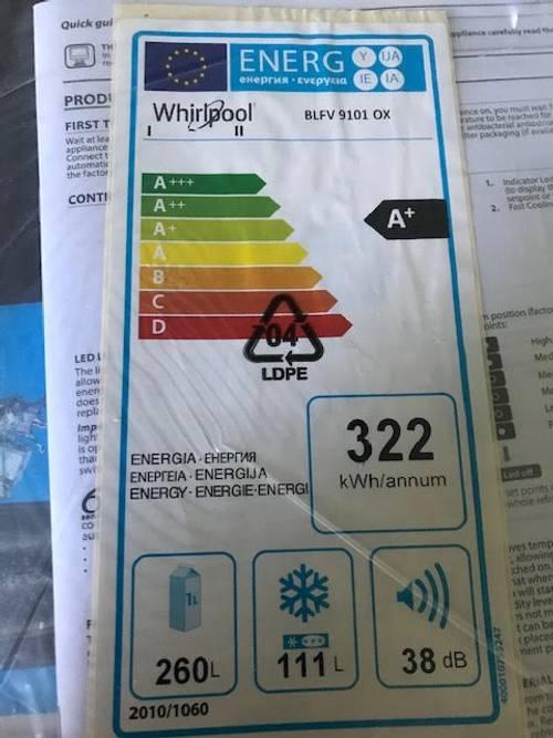 Vends réfrigérateur/congélateur, Whirlpool 2020, A+, grande capacité