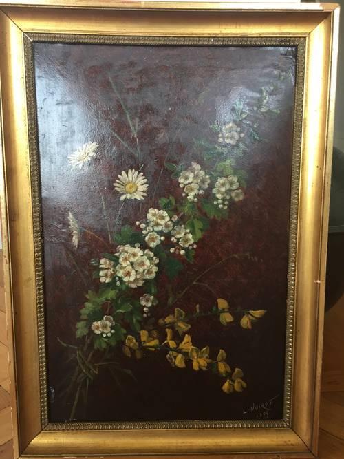Tableau ancien huile sur papier marouflé sur carton signé L. Noirot