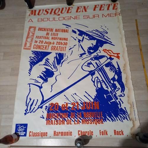 Affiche fête de la musique Boulogne sur mer, 20-21juin 198…?