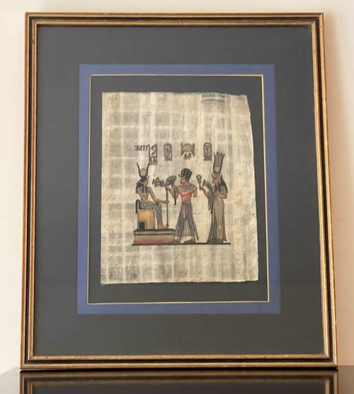 Vends tableau papyrus égyptien avec encadrement