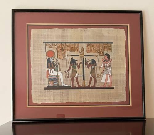 Vends tableau papyrus égyptien avec bel encadrement
