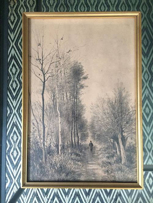 Oeuvre paysage sous bois au crayon à papier