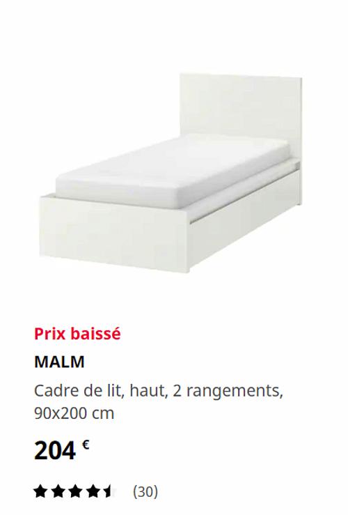 Lit 90X200et matelas mousse Ikea