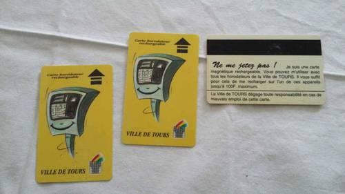 3cartes d'horodateur rechargeables de la ville de Tours