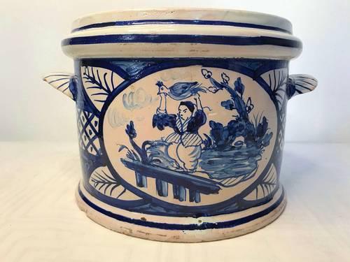 Ancien cache-pot céramique de Nevers fin XVIIIème