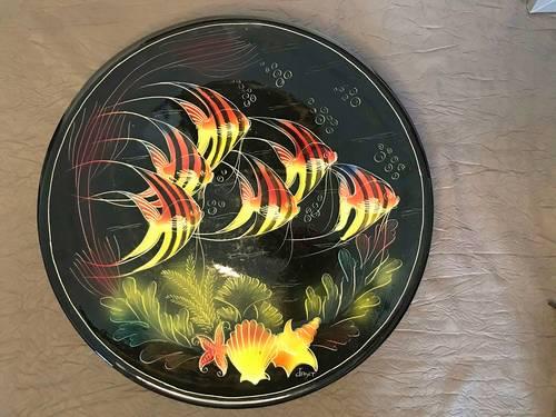 Très grand plat sur pied céramique de Monaco signé Jamet 1950