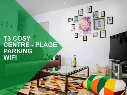 Appartement 60m² 6pers, hypercentre, Parking, Wifi, 700m de la Plage