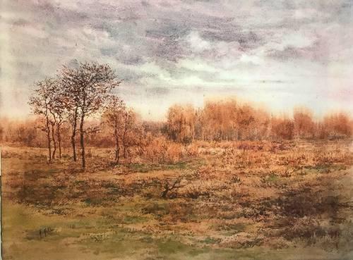 Mollier(A.), Aquarelle Paysage d'automne signée encadrée début XXème