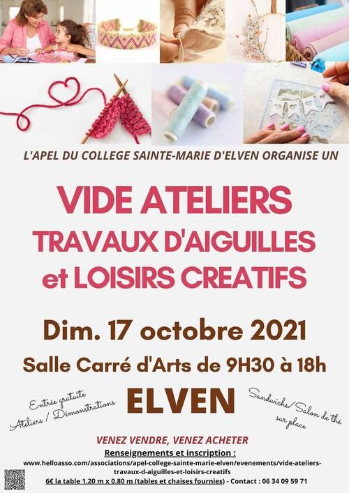 """Vide-ateliers """"travaux d'aiguilles et loisirs créatifs"""" Elven"""