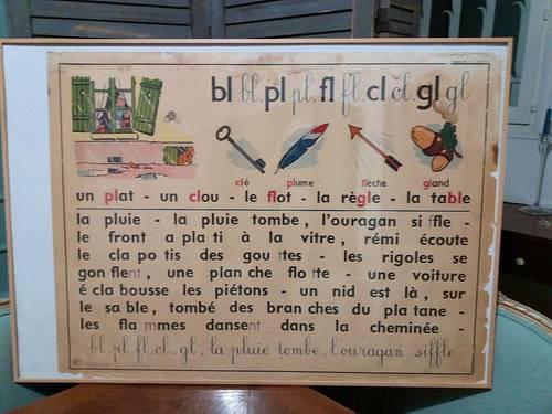 Authentique affiche scolaire vintage