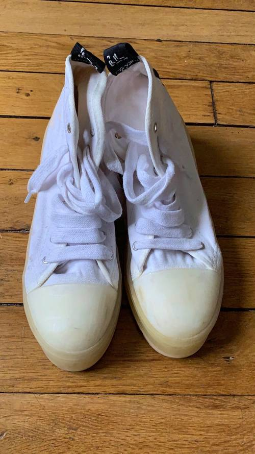 Bottines blanches toiles semelles track T41
