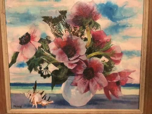 Bouquet d'anémones, huile sur toile de Michel King