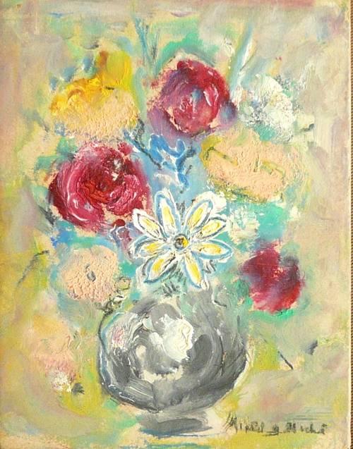 Vends tableau Bouquet N° 26Vase gris et roses rouges