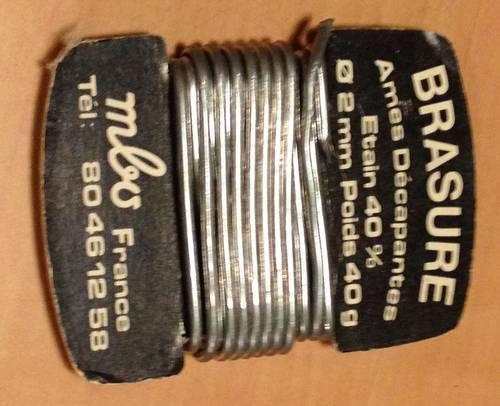 Brasure Ames Décapantes - Etain 40% - diamètre 2mm - poids 40g