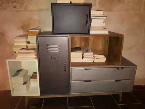 Buffet commode meuble rangement style industriel