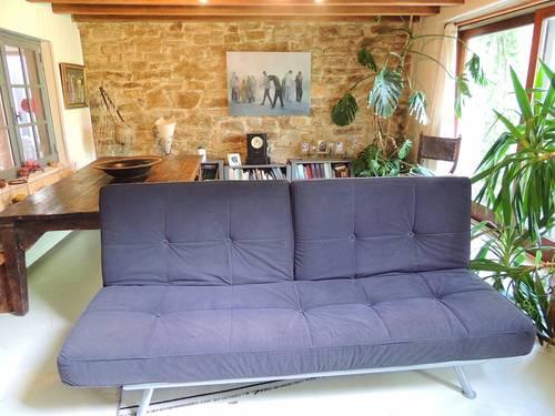 Canapé convertible méridienne avec assises amovibles en tissu noir