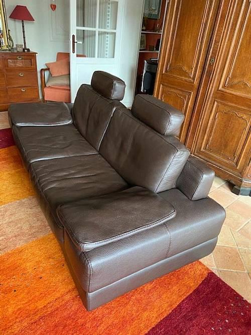 Canapé cuir 3places + Pouf - TBE