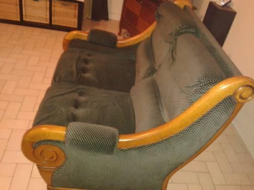 Canapé 2places bois massif et tissus