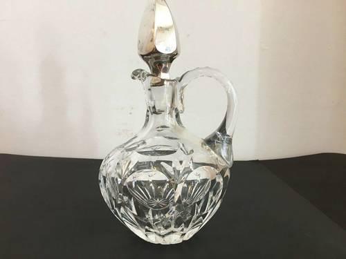 Carafon en cristal et métal argenté