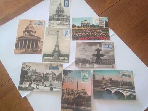 8cartes postales monuments de Paris oblitérées