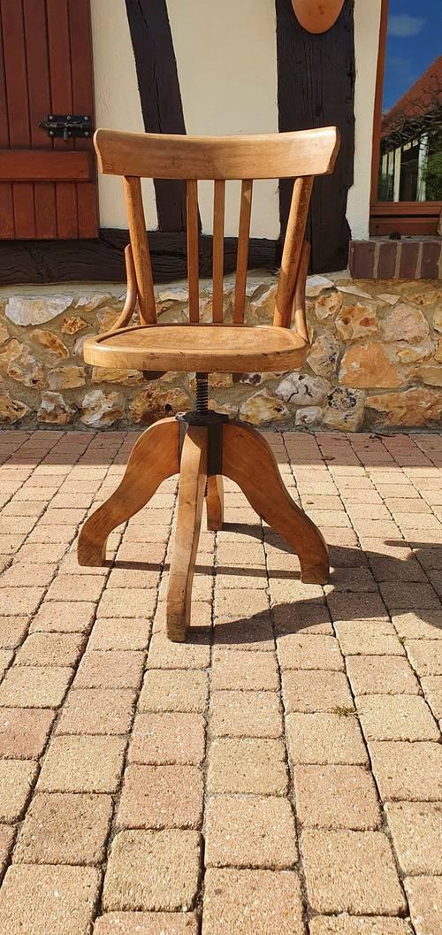 Chaise ancienne dactylo, tournante à vis, bois courbé, style Baumann