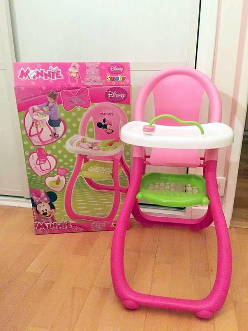 Vends chaise haute poupée, décors Minnie