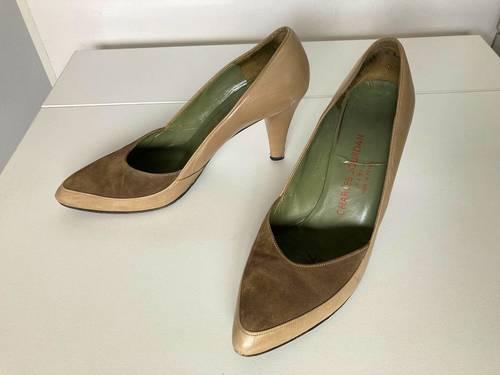 Chaussures femme escarpins Charles Jourdan beiges marron cuir daim 39