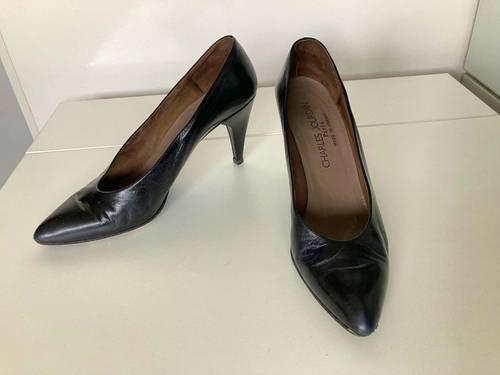 Chaussures femme escarpins Charles Jourdan noirs cuir chevreau 39