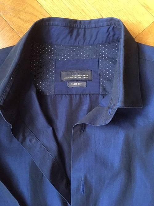 Chemise homme bleu marine Zara, taille L slim fit très bon état