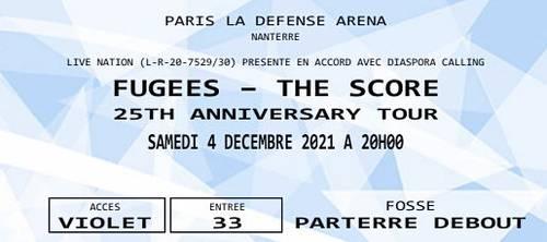 Concert The Fugees, le samedi 4décembre - 2places en fosse