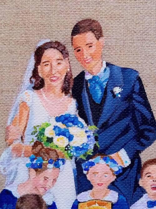 Cortège de mariage, peint à la main sur LIN
