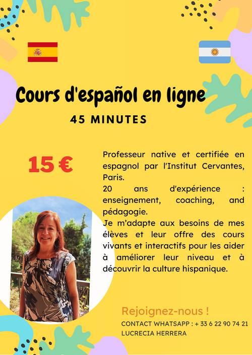 Propose cours d'espagnol par une professeur certifiée d'origine Argentine