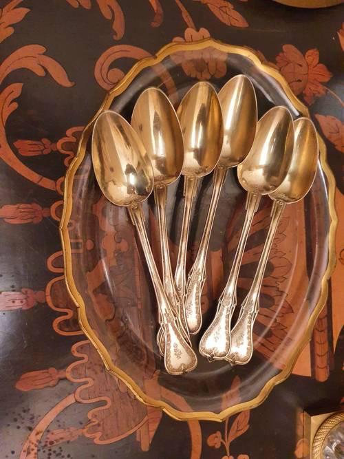 6cuillères en argent et vermeil à spatule violonnée XIXème