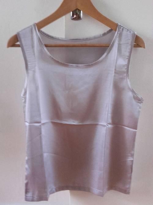 Haut/Top/Débardeur style soie, gris clair, M, Neuf