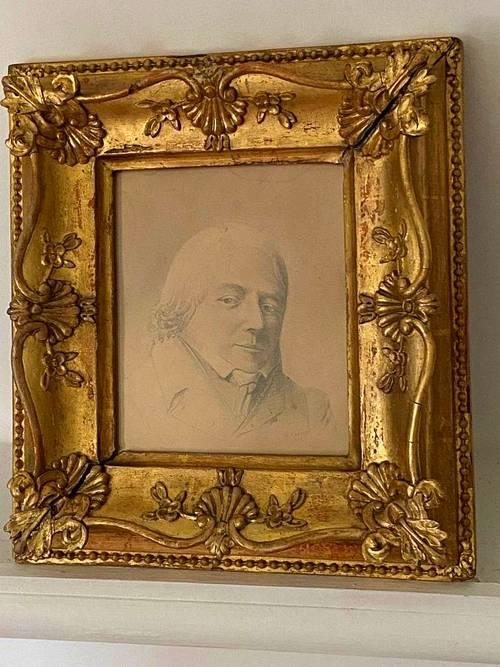 Dessin XIXe au crayon signé avec son encadrement bois doré