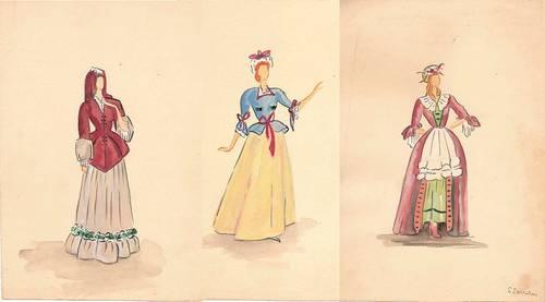 3Dessins originaux de costume de théâtre par S SARRAU