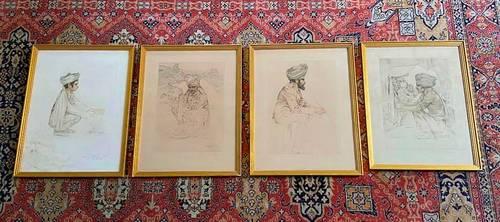 4dessins originaux signés Maurice Millière Soldats indiens 1916