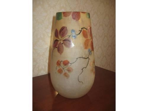 Vends Gros vase en pâte de verre décor émaillé