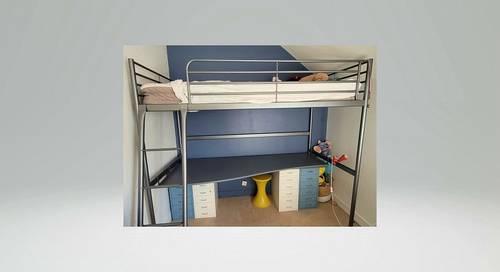 Lit enfant mezzanine + plateau bureau