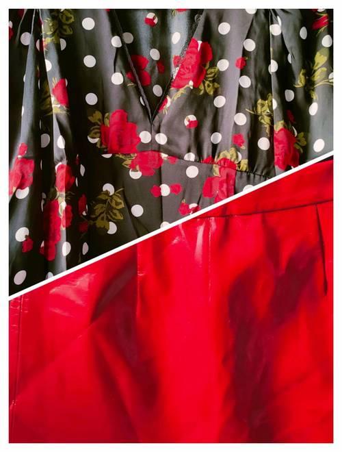 Ensemble chemisier mini-jupe noire et rouge ZARA
