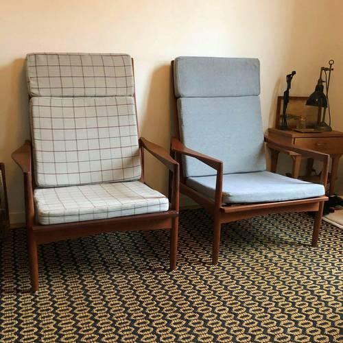 2fauteuils vintage scandinave d'époque