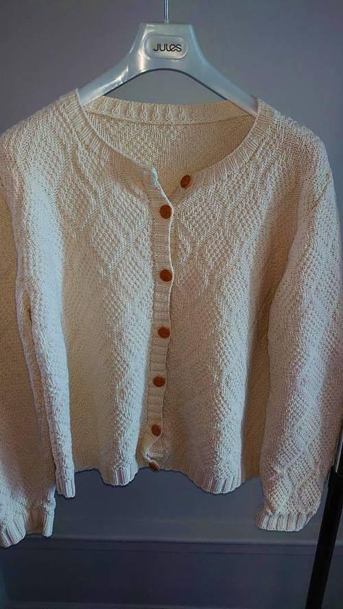 Gilet 100% coton tricoté main taille 44