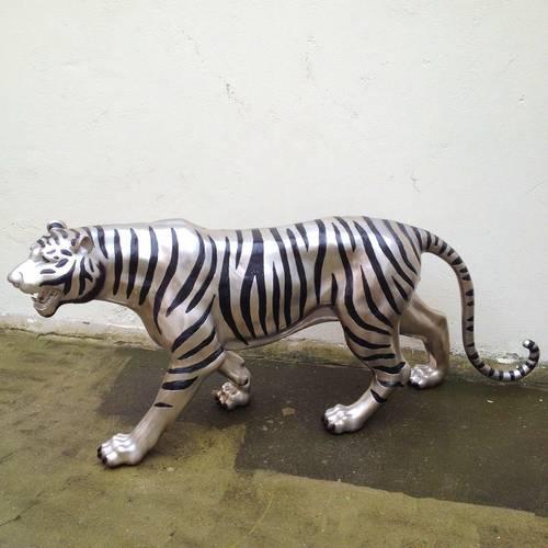 Grand tigre en bronze argenté - 195cm