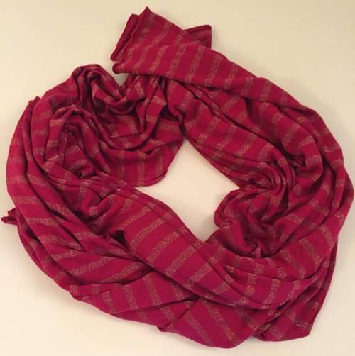 Grande écharpe rayures rose tyrien et or