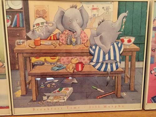 """Vends ensemble 3grands cadres """"famille éléphant"""" pour chambre enfant"""