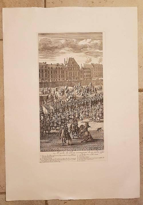 """Gravure représentant """"La marche du Roy"""" de Jan van HUCHTENBURG 53X76cm"""