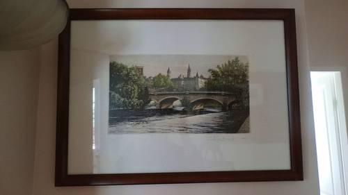 """Gravure """"vue de Pau"""" signée"""